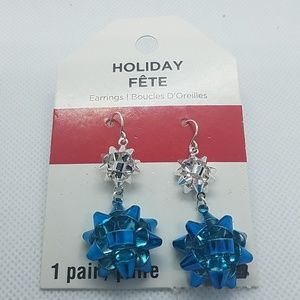 NWT Holiday Silver & Blue Dangling Bow Earrings